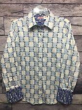 TIZZIE White w/ Blue Shoe Design Fold Up Cuff Cotton Lycra Shirt Large