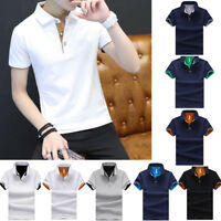 Cotton Men's Fashion Slim Short Sleeve Shirts T-shirt Casual Tops Blouse Top