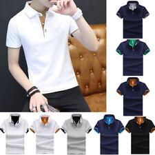 Cotton Men's Fashion Slim Short Sleeve Shirts T-shirt Casual Tops Blouse Top