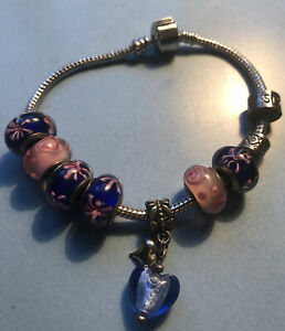 Sterling Silver Murano Glass Charms On  Bracelet + Sterling Silver Sister Charm