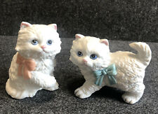Vintage Homco White Persian Cats Figurines Ceramic Porcelain Kittens 1428 Set 2