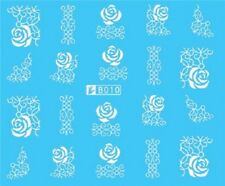 Nail Art Stickers Water Decals Transfers White Mono Design Roses Lace (B010)