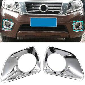 2* Chrome Front Fog Light Lamp Cover For Nissan Navara Frontier NP300 2015-2019
