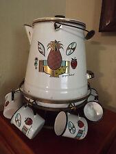 Georges Briard Pineapple Ambrosia Enamel~Mid Century Coffee Pot & 8 cups holder