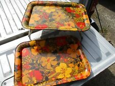 Lot of 2 Vtg. TV Bed Lap Trays Marsh Allan Unused Matching 1960's USA Packaged