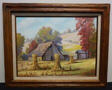 Nancy Fischvogt Brown County Landscape Oil on Canvas Indiana Barn Hoosier School