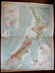 New Zealand Auckland Wellington Christchurch Dunedin c. 1920 large detailed map
