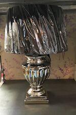 Urna de la Cerámica Plata Cromo esculpido sombra Negro Lámpara De Mesa Nuevo De Lujo Lux Retro