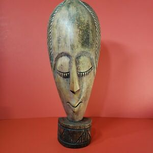 African Art Wood Mask on Stand Hand Carved Handcrafted Africa 17in Tall