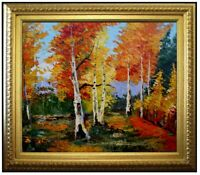 Framed, Quality Heavy Impasto Hand Painted Oil Painting Autumn Forest 20x24in