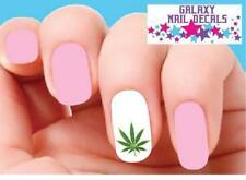 Waterslide Nail Decals - Set of 20 Green Cannabis Pot Marijuana Leaf