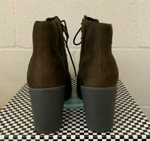 SECOND-S ANKLE COMBAT BROWN BOOTIE LACE UP ZIPPER