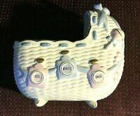 "Vintage 1961 NAPCO Ceramic Baby Bassinette Planter 6"" Tall X 5""  Made In USA"