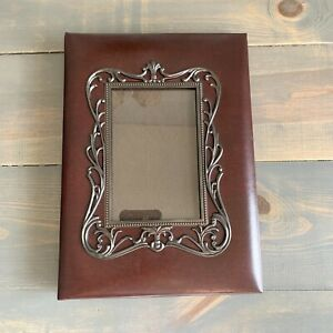 Messenger Memory Book Photo Album Burgundy Leather Framed Front Photo 4x6 Photos