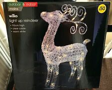 Wilko Navidad Acrílico Luz Reno Interior/exterior 93cm blanco cálido LED