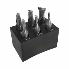 6 Pc 38 Shank 2 Flute End Mill Set Single End 18 12 With Holder
