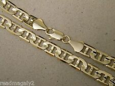 Lady's Men's Yellow Triple Gold Plated Concave Mariner Chain 24in Long 10mm Wide