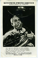 Large 1950s Advertising Photo Keystone Photo Service Los Angeles w/ Tuba Player