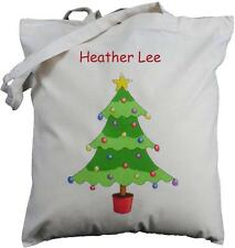 PERSONALISED - CHRISTMAS TREE - NATURAL COTTON SHOULDER /TOTE BAG - Shopping