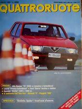 Quattroruote 357 1985 Giulietta Spider. Alfa Romeo 75 2000cc. Lancia Prisma Q.32