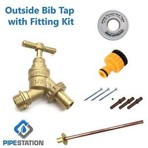 Outside Tap Kit garden hose fitting set Tap + wallplate +PTFE +Connector +Screws