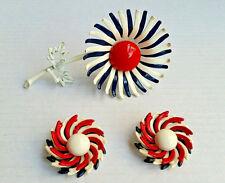 Vintage Red White Blue Enamel Flower Brooch & Clip on Earring Americana Set