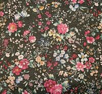 Country Florals BTY Unbranded Calico Flowers Dots Pink Wine Blue Green Black