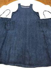 nest Robe Japan OS Cotton Denim Blue Apron Back Tie Square Neck Jumper Dress