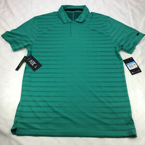 Nike Dri-Fit Tiger Woods TW Novelty Golf Polo Green BV0350-370 Men's Size M
