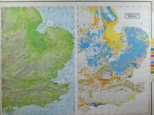 VINTAGE LARGE MAP of BRITAIN SOUTH WEST ENGLAND SUPERFICAL DEPOSITS CLAY SAND