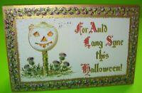 Vintage Halloween Postcard Embossed Series 2040 German Gottschalk White Pumpkin