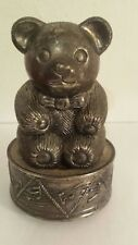 New listing Vintage Old Metal Teddy Bear Bank Music Box Unique