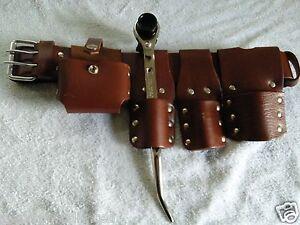 Heavy Duty New Scaffold Leather Tools Work Belt Spanner Ratchet Podger 17&21 UK