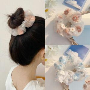 Sweet Mesh Hair Rope Scrunchies Embroidery Flowers Organza Headwear Ring Ties