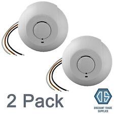 2x Interlinked Mains Smoke Alarm Detector 240V Battery Back Up Linked Photoelec