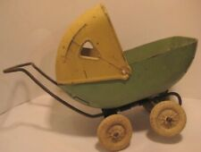 """Old 1930s Pressed Steel Doll Baby Buggy by Wyandotte 6 1/2"""" tall - needs tires"""