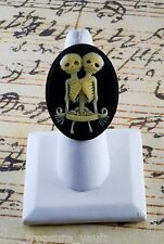 """LTV Creation """"Siamese Twin Skeleton"""" Ring Industrial Raw Brass Resin Cast Cameo"""