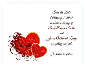 100 Personalized Custom Red Burgundy Hearts Bridal Wedding Save The Date Cards