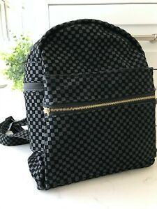 Black Suede Backpack Checkered