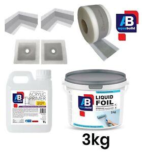 AQUA BUILD Wet Room System Waterproof Tanking Kit 3kg Shower & Bathroom Seal 3m²