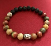 Aromatherapy Essential Oil Diffuser Bracelet Natural Jasper Beads Lava Stone