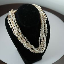 Five (5) Strand Fresh Water Pearl Necklace - 14k Yellow Gold 2.4g Clasp - 30in