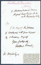 John Westland Marston (1819 - 1890), Poet, Dramatist. 1862 Autograph Letter