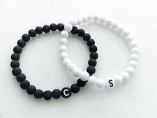 2x Partnerarmband ♥ SET Buchstaben BLACK & WHITE Namensarmband schwarz weiß Paar