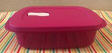 Tupperware Crystalwave Rectangle Divided Dish Reheatable Container 4 Cups Pink