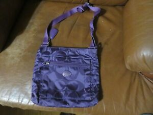 COACH Signature Getaway Purple Nylon Crossbody Bag F77408 RARE