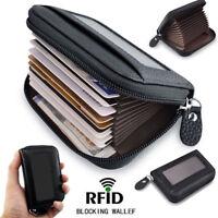 Mens Wallet Credit Card Holder Genuine Leather RFID Blocking Zipper Pocket New