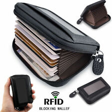 Leather Mens Mans Zip Around Zipped Up Wallets 9 Card Wallet Black RFID Blocking