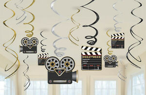 12 x Hollywood Clapboard Hanging Swirls Decorations Bumper Value Pack
