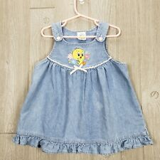 Vintage Looney Tunes Tweety Bird Girls 24 Months Jean Denim Jumper Dress 1999 *